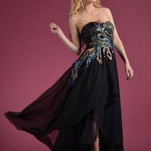 Prom dress high low, black color